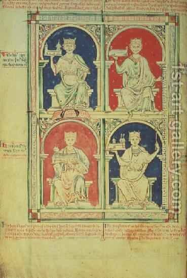 Four Kings of England William I, William II, Henry I and Stephen, from the Historia Anglorum, 1250 by Matthew Paris - Reproduction Oil Painting