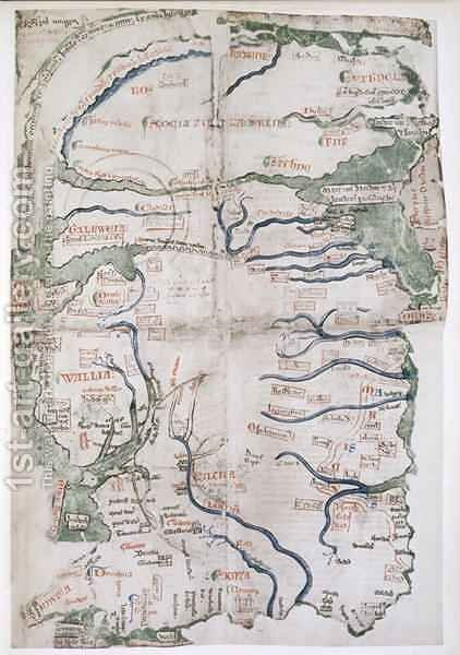 Map of England, Scotland and Wales, Ms Cotton Claudius, DVI, fol 12 v, 1250 by Matthew Paris - Reproduction Oil Painting
