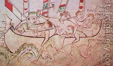 Eustace the Monk, captured by the English and beheaded on his ship in 1217 by Matthew Paris - Reproduction Oil Painting