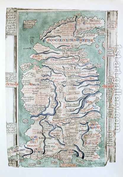 Map of England, Scotland and Wales, Ms Royal 14.C VII, fol 5 v, 1250 by Matthew Paris - Reproduction Oil Painting