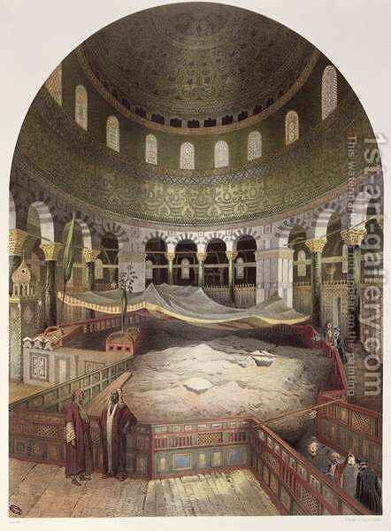 Interior of the Mosque of Omar, illustration from Souvenirs de Jerusalem by Contre-Amiral Paris, engraved by Hubert Clerget 1818-99 and Jules Gaildrau 1816-98 by (after) Paris - Reproduction Oil Painting