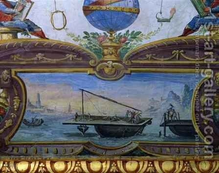 Device for dredging the sea, Stanza della Mattematica, 1587-1609 by Giulio Parigi - Reproduction Oil Painting