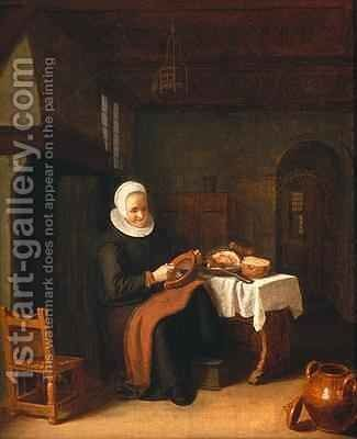 Lady seated in front of a fireplace with ham and bread on a table by Abraham de Pape - Reproduction Oil Painting