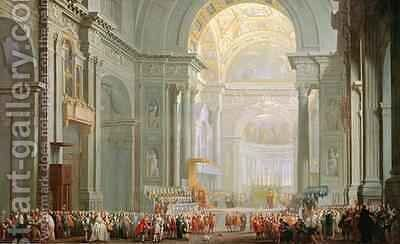 Interior of a St. Peters, Rome by Giovanni Paolo Panini - Reproduction Oil Painting