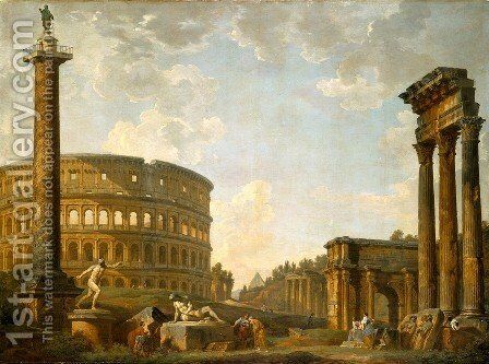 The Pantheon and other Monuments, 1735 by Giovanni Paolo Panini - Reproduction Oil Painting