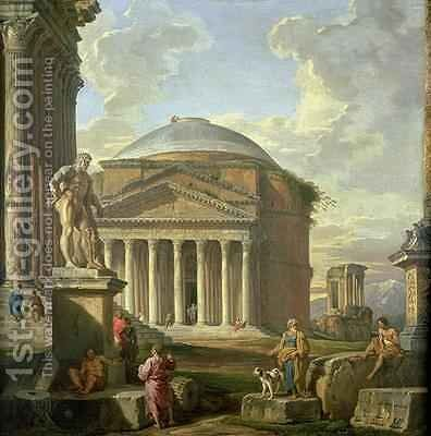 View of the Pantheon, the Farnese Hercules and other Roman Ruins by Giovanni Paolo Panini - Reproduction Oil Painting