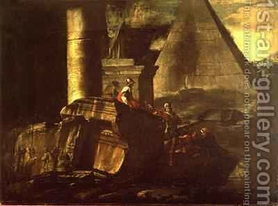 Roman Ruins with the Pyramid Tomb of Caius Cestius by Giovanni Paolo Panini - Reproduction Oil Painting