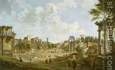 View of the Roman Forum, 1747 by Giovanni Paolo Panini - Reproduction Oil Painting