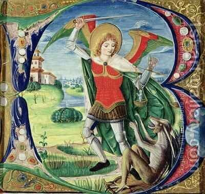 Historiated initial B depicting St. Michael and the Dragon, 1499-1511 by Alessandro Pampurino - Reproduction Oil Painting