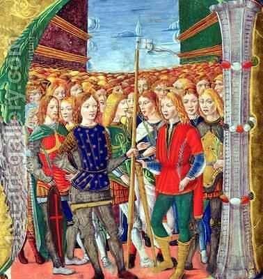 Historiated initial N depicting St. Maurice and the Theban Legion, Lombardy School, c.1499-1511 by Alessandro Pampurino - Reproduction Oil Painting