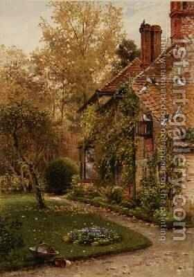 Round My House A Side of the Cottage, Elm Grove, Ripley, Surrey, 1880-86 by Harry Sutton Palmer - Reproduction Oil Painting