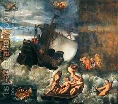 Sea Storm by Jacopo d'Antonio Negretti (see Palma Vecchio) - Reproduction Oil Painting