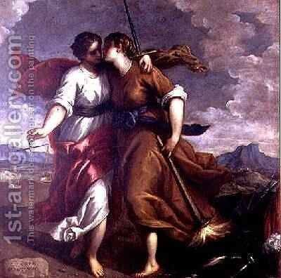 Justice and Peace by Jacopo d'Antonio Negretti (see Palma Giovane) - Reproduction Oil Painting