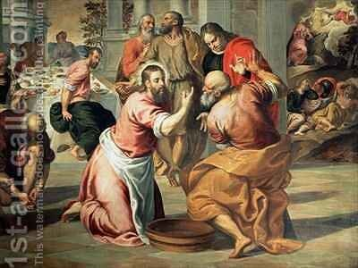 The Washing of the Feet by Jacopo d'Antonio Negretti (see Palma Giovane) - Reproduction Oil Painting