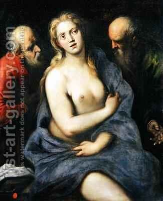 Susanna and the Elders by Jacopo d'Antonio Negretti (see Palma Giovane) - Reproduction Oil Painting