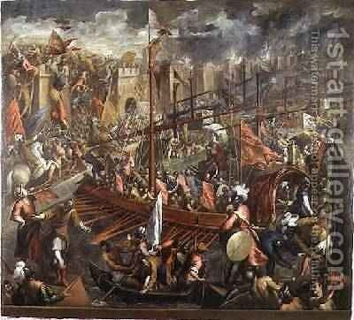 The Taking of Constantinople 3 by Jacopo d'Antonio Negretti (see Palma Giovane) - Reproduction Oil Painting