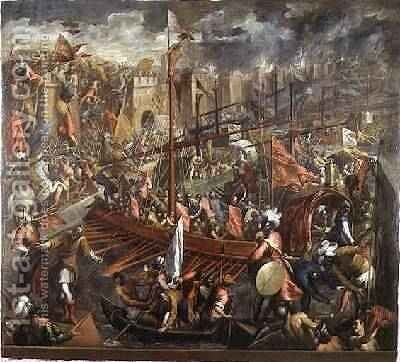 The Taking of Constantinople 4 by Jacopo d'Antonio Negretti (see Palma Giovane) - Reproduction Oil Painting