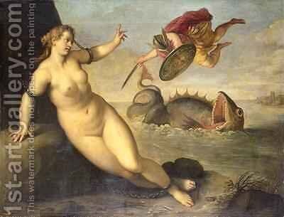 Perseus Rescues Andromeda, c.1610 by Jacopo d'Antonio Negretti (see Palma Giovane) - Reproduction Oil Painting