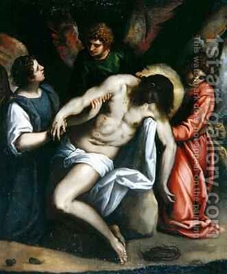 The Dead Christ, Held by Three Angels by Jacopo d'Antonio Negretti (see Palma Giovane) - Reproduction Oil Painting