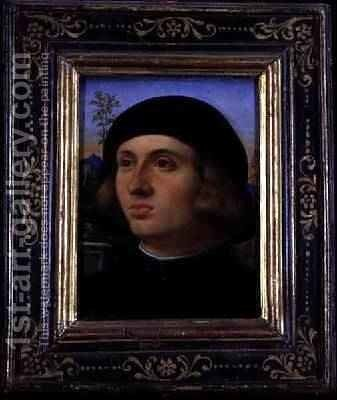 Portrait of a Young Man by Jacopo d'Antonio Negretti (see Palma Giovane) - Reproduction Oil Painting