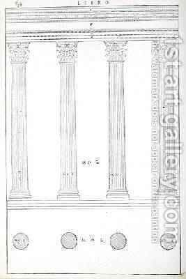 The Corinthian Order, illustration from a facsimile copy of I Quattro Libri dellArchitettura written by Palladio, originally published 1570 by (after) Palladio, Andrea - Reproduction Oil Painting