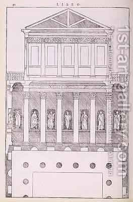 A private Greek house, illustration from a facsimile copy of I Quattro Libri dellArchitettura written by Palladio, originally published 1570 by (after) Palladio, Andrea - Reproduction Oil Painting