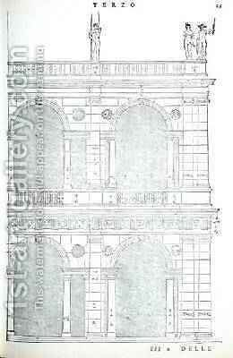 Elevation detail of the basilica in Vicenza, illustration from a facsimile copy of I Quattro Libri dellArchitettura written by Palladio, originally published 1570 by (after) Palladio, Andrea - Reproduction Oil Painting