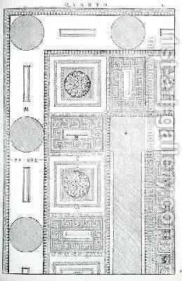 Plan of the ceiling of the Tempio di Marte Vendicatore, illustration from a facsimile copy of I Quattro Libri dellArchitettura written by Palladio, originally published 1570 by (after) Palladio, Andrea - Reproduction Oil Painting