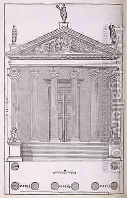Elevation of the Temple of Castor and Pollux, illustration from a facsimile copy of I Quattro Libri dellArchitettura written by Palladio, originally published 1570 by (after) Palladio, Andrea - Reproduction Oil Painting