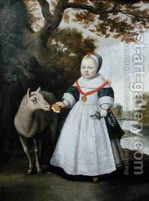 Child and Sheep, 1655 by Anthonie Palamedesz. (Stevaerts, Stevens) - Reproduction Oil Painting