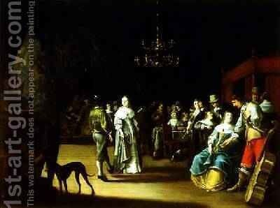 A merry company in an interior by Anthonie Palamedesz. (Stevaerts, Stevens) - Reproduction Oil Painting