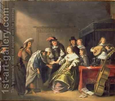 A Bourgeois Interior with a Gypsy Telling a Ladys fortune by Anthonie Palamedesz. (Stevaerts, Stevens) - Reproduction Oil Painting