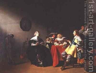 An interior with elegant figures reading by Anthonie Palamedesz. (Stevaerts, Stevens) - Reproduction Oil Painting
