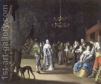 The Banquet, a couple dancing with feasting and revelling in the background by Anthonie Palamedesz. (Stevaerts, Stevens) - Reproduction Oil Painting