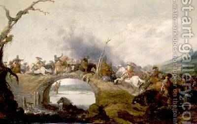 Cavalry Battle on a Bridge by Anthonie Palamedesz. (Stevaerts, Stevens) - Reproduction Oil Painting