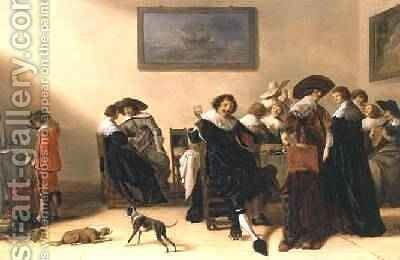 A Merry Group in an Interior, eating and drinking by Anthonie Palamedesz. (Stevaerts, Stevens) - Reproduction Oil Painting