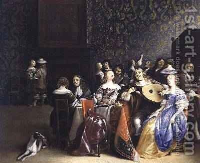 Elegant company merrymaking in an interior by Anthonie Palamedesz. (Stevaerts, Stevens) - Reproduction Oil Painting