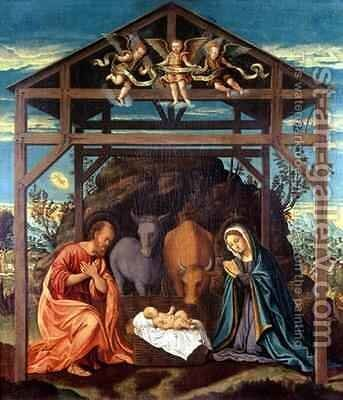 Nativity by Girolamo Del Pacchia - Reproduction Oil Painting