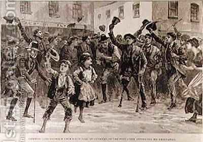 Cheering Lord Randolph Churchills Name at Loughrea, on the Town Crier Announcing his Resignation, from The Illustrated London News, 8th January 1887 by (after) Overend, William Heysham - Reproduction Oil Painting
