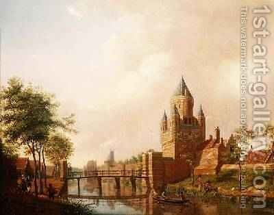 A view of the Kleine Houtpoort Small Gateway in Haarlem with the Grote Houtpoort Great Gateway in the background, 1778 by Isaak Ouwater - Reproduction Oil Painting