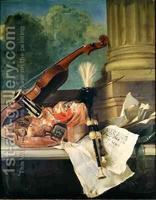 Attributes of Music by Jean-Baptiste Oudry - Reproduction Oil Painting