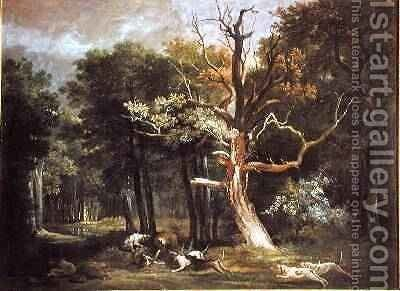 Wolf Hunt in the Forest of Saint-Germain, 1748 by Jean-Baptiste Oudry - Reproduction Oil Painting