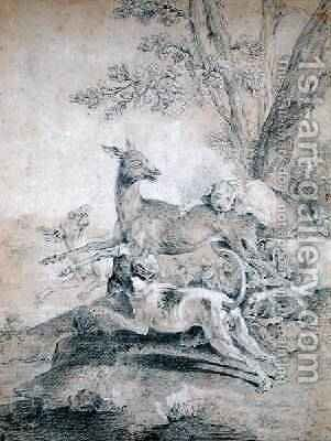 The Doe Hunt by Jean-Baptiste Oudry - Reproduction Oil Painting