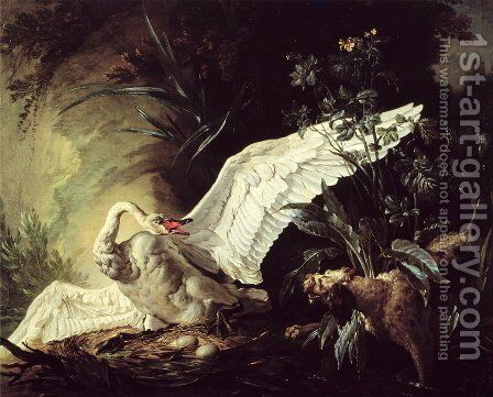 A Water Spaniel Attacking a Swan on its Nest, 1740 by Jacques Charles Oudry - Reproduction Oil Painting