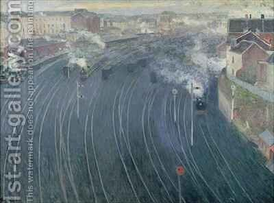 Luxembourg Station, Brussels, 1903 by Henri Ottmann - Reproduction Oil Painting