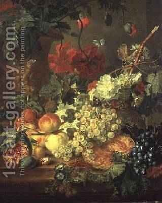 Fruit and Flowers, after J. van Huysum by Jan van Os - Reproduction Oil Painting