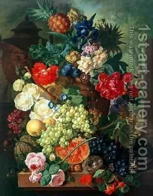 Mixed Flowers and Pineapples in an Urn with a Bird's Nest and a Cat by Jan van Os - Reproduction Oil Painting