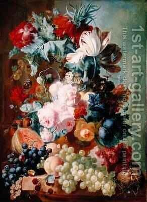 Flowers and Fruit by Jan van Os - Reproduction Oil Painting