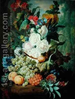 Fruits and Flowers by Jan van Os - Reproduction Oil Painting