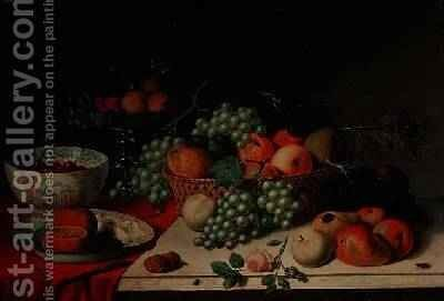 A basket of grapes and apple by Jan van Os - Reproduction Oil Painting
